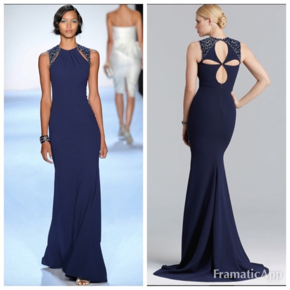 Badgley Mischka Dresses | Keyhole Evening Gown Navy Blue 12 | Poshmark